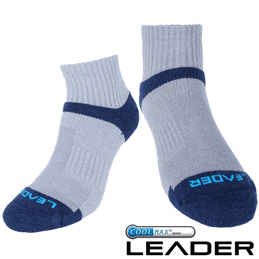 ~LEADER~COOLMAX除臭機能 襪 男款 ^(灰藍^)