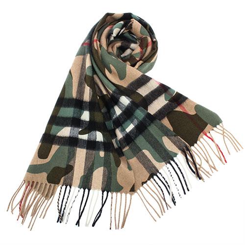 BURBERRY 新款迷彩印花喀什米爾羊毛流蘇圍巾-松柏綠