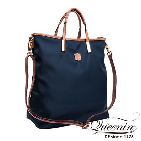 DF Queenin日韓 - 日本熱銷系列新款尼龍手提斜背托特包-藍色