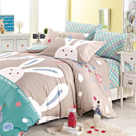 Pure One  浪漫兔-單人極致純棉二件式床包組