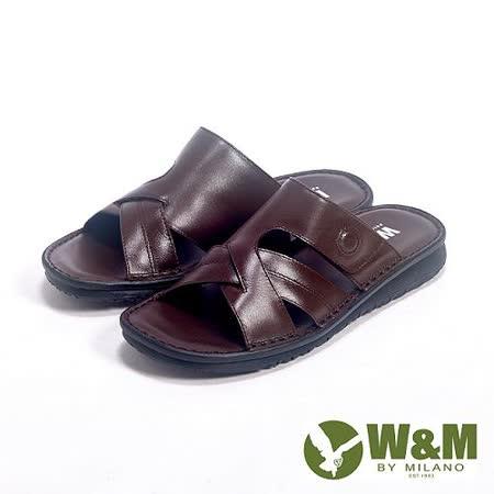 W&M (男)亮皮透氣厚底軟墊涼拖鞋男鞋-咖