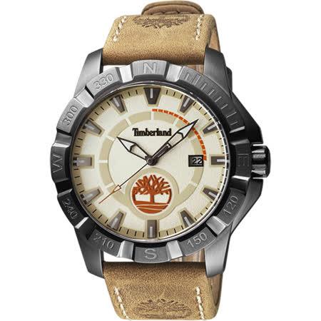 Timberland 頂尖對決時尚潮流腕錶-米x卡其/47mm TBL.14491JSU/07