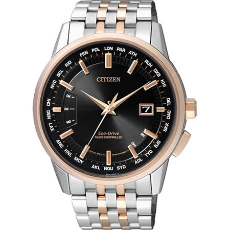 CITIZEN 光動能萬年曆電波錶-黑x雙色版/43mm CB0156-66E