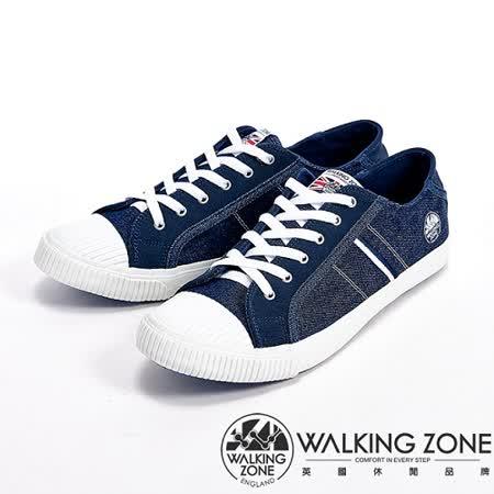 【WALKING ZONE】(男)雙色雙線接拼帆布休閒男鞋-深藍(另有灰)