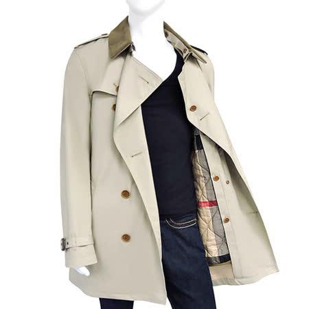 BURBERRY 雙排釦綁腰紳士長版風衣外套-卡其色【M號】
