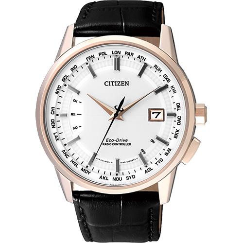CITIZEN 光動能萬年曆電波錶~白x玫瑰金框43mm CB0153~13A
