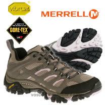 【美國 MERRELL】女新款 Moab GORE-TEX XCR 專業防水透氣低筒登山健行鞋_灰褐/粉 ML65316