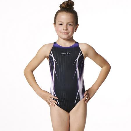 【SAIN SOU】競賽/泳隊女童連身三角泳裝附泳帽A87407-01