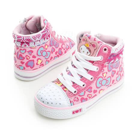 Hello Kitty 愛心豹紋系列碎鑽腳床型抗菌防臭鞋墊休閒中筒帆布鞋 714877-粉