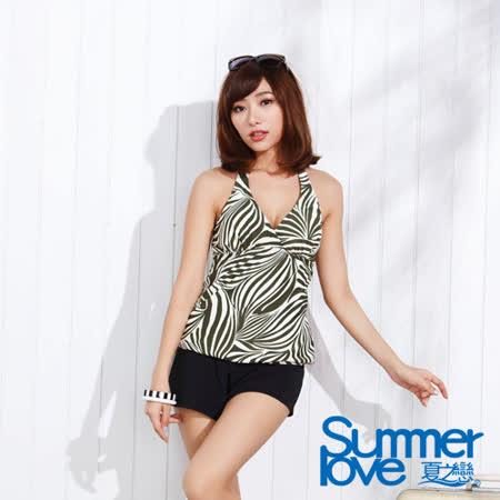 【SUMMERLOVE夏之戀】叢林風三件式泳衣-加大碼(S15747)