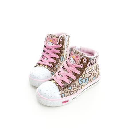 Hello Kitty 愛心豹紋系列碎鑽腳床型抗菌防臭鞋墊休閒中筒帆布鞋 714877-米