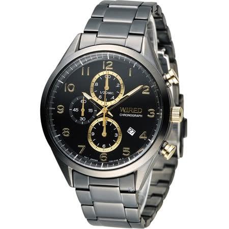 WIRED 耶誕限定計時腕錶 7T92-X273SD AF8U29X1 黑x金