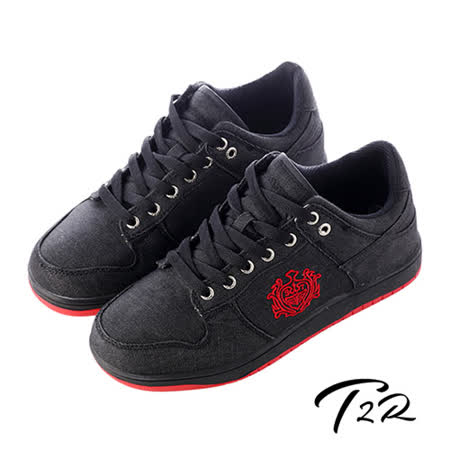 【韓國T2R】皇家徽章牛仔布內增高休閒鞋↑7cm 黑(5600-0182)