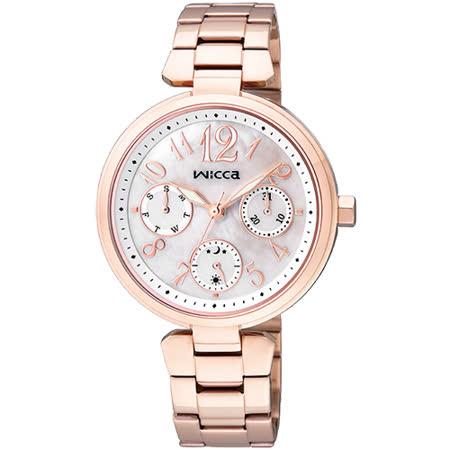 CITIZEN wicca 甜蜜時刻日曆腕錶-珍珠貝x玫塊金/33mm BH7-423-11