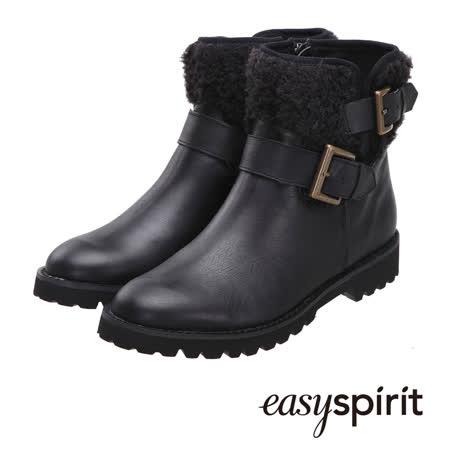 【網購】gohappy線上購物Easy Spirit 率性條帶設計保暖毛料拼接短筒靴--經典黑價錢大 遠 百 線上 dm