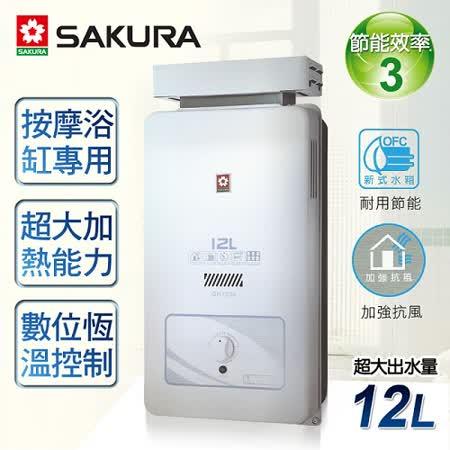 【櫻花牌】12L屋外抗風型熱水器/GH-1206(桶裝瓦斯)