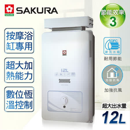 【櫻花牌】12L屋外抗風型熱水器/GH-1206(天然瓦斯)