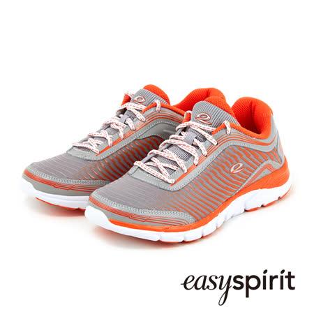 Easy Spirit 亮彩異材質拼接鋪棉休閒鞋--活力橘