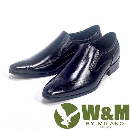 W&M(男)手工質感MIT鬆緊帶直套皮透氣舒適皮鞋-黑