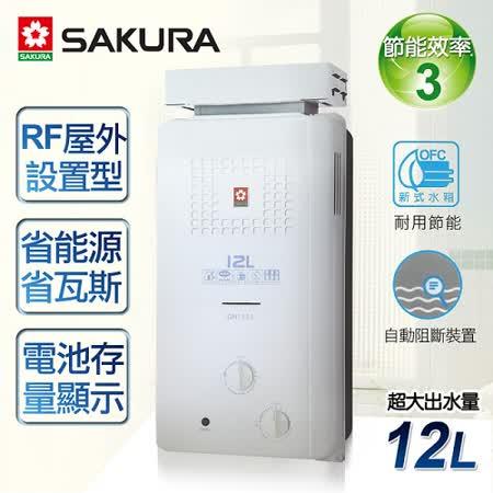 【櫻花牌】12L屋外抗風型ABS防空燒熱水器/GH-1221(桶裝瓦斯)