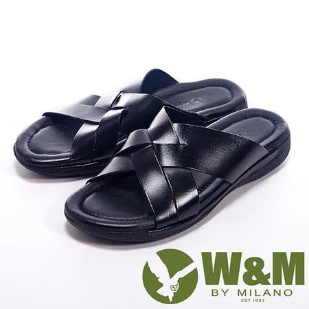 W&M(男)夏日編織交叉設計涼拖鞋男鞋-黑