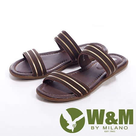 W&M(男)搭配金色分段設計男鞋拖鞋-咖