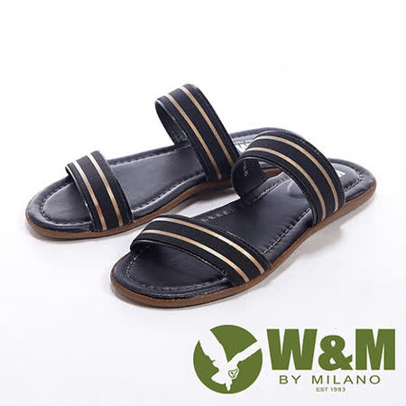 W&M(男)搭配金色分段設計男鞋拖鞋-黑