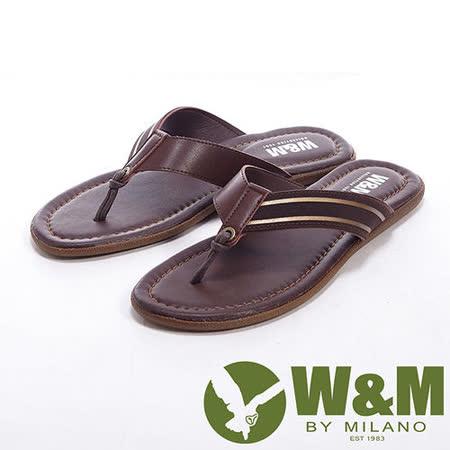 W&M(男)環扣綁式設計人字夾腳拖男鞋-咖
