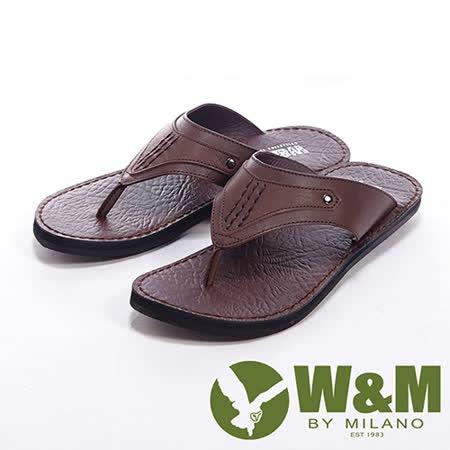 W&M(男)線條設計人字夾腳拖男鞋-咖