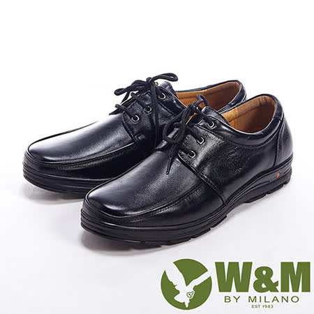 W&M(男)真皮舒適綁帶休閒男鞋皮鞋-黑