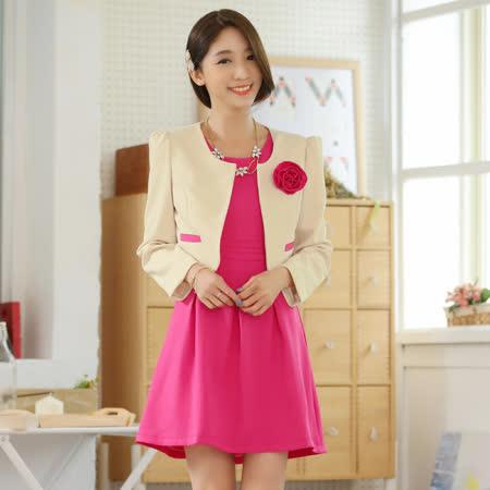【KVOLL中大尺碼】杏色小外套+玫紅色背心裙二件式