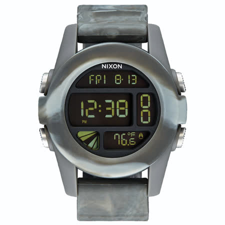 NIXON The UNIT率性概念雙時區運動錶-混色灰
