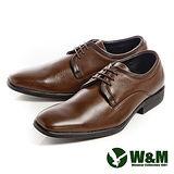 W&M(男)紳仕雅痞綁帶素面皮鞋男鞋-咖