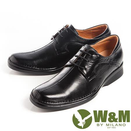 W&M(男)西裝筆挺必備西裝鞋正裝男仕繫繩皮鞋-黑