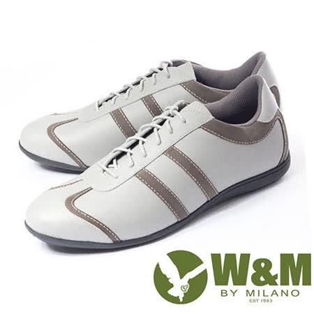 W&M(男)撞色舒適皮革TPR高彈性大底 男仕休閒鞋-灰