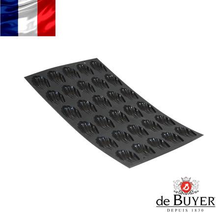 法國【de Buyer】畢耶烘焙『黑軟矽膠模系列』30格迷你瑪德蓮烤模