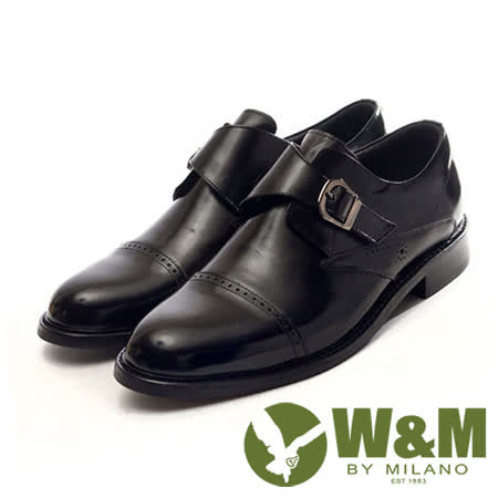W&M(男)帶扣裝飾魔鬼氈雕花紳士皮鞋-黑