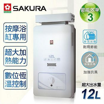 櫻花牌 12L屋外抗風型熱水器 (GH-1206)(桶裝瓦斯)