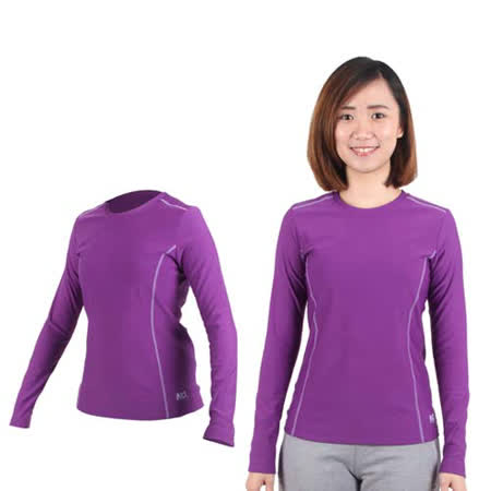 (女) MJ3 圓領吸排刷毛保暖衣-內衣 長袖T恤 紫