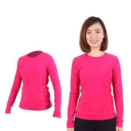 (女) MJ3 圓領吸排刷毛保暖衣-內衣 長袖T恤 桃紅