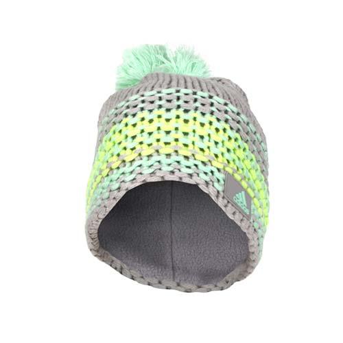 (女) ADIDAS 針織帽-桃園 統領 百貨毛帽 休閒 毛線帽 保暖 淺灰淺綠螢光黃 F