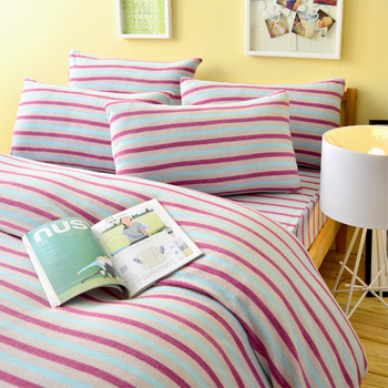 Pure One 超保暖搖粒絨-無印良品風-藍-雙人四件式床包被套組