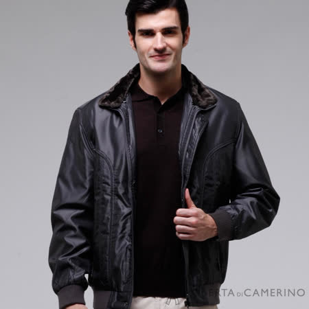 ROBERTA諾貝達 台灣製 時尚百搭 內裡舖棉 可拆式毛領 夾克外套 鐵灰色