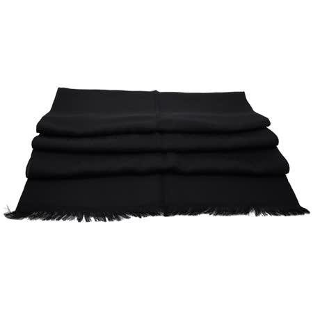 GUCCI 經典雙G緹花LOGO羊毛絲綢長圍巾/長絲巾.黑