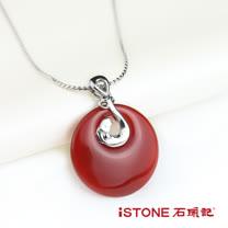 石頭記 紅瑪瑙白鋼項鍊-連年有餘