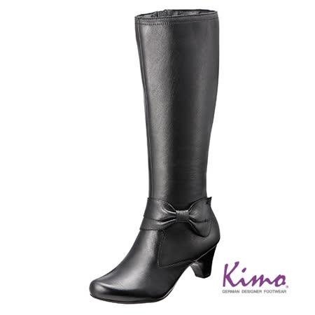 【Kimo德國品牌手工氣墊鞋】典雅風格真皮長靴‧牛皮‧橡膠底‧5cm中跟(個性黑K15WF032553)
