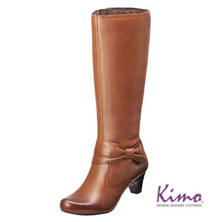 【Kimo德國品牌手工氣墊鞋】典雅風格真皮長靴‧牛皮‧橡膠底‧5cm中跟(風情棕K15WF032555)