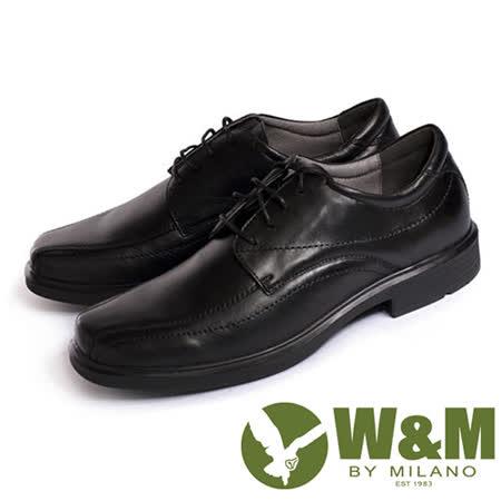 W&M(男)都會紳士減壓系列手工車正裝男仕繫繩皮鞋-黑