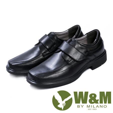 W&M(男)都會紳士減壓系列魔鬼氈正裝男仕皮鞋-黑