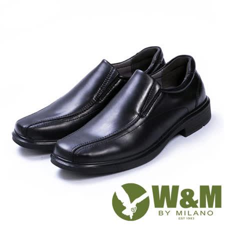 W&M(男)都會紳士減壓系列直套正裝男仕皮鞋-黑